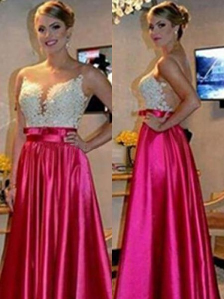 A-Line/Princess Sleeveless Sweetheart Long Satin Dress