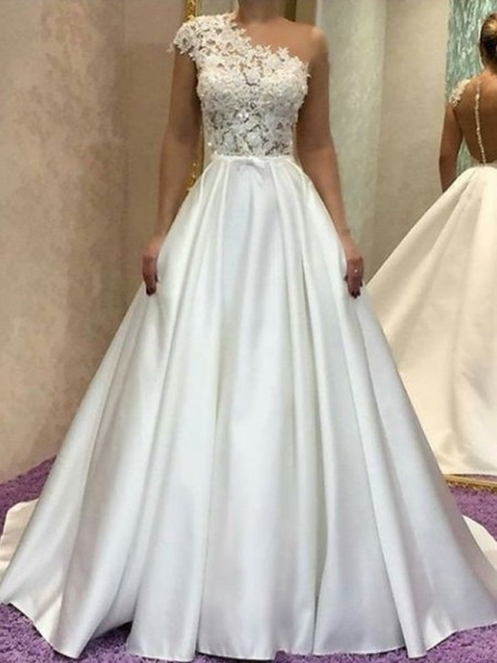 A-Line/Princess One-Shoulder Sleeveles Lace Satin Sweep/Brush Train Wedding Dress