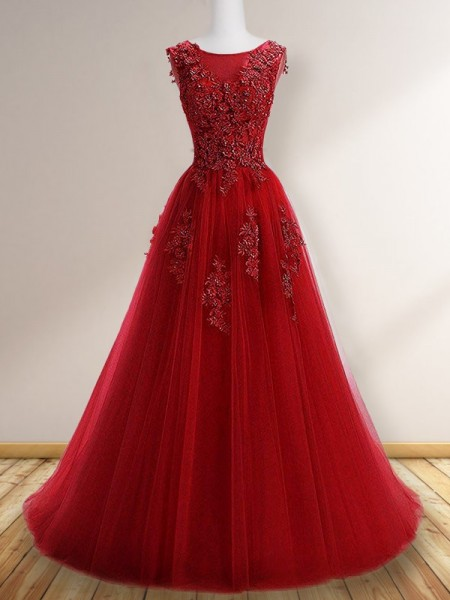A-Line/Princess Scoop Sleeveless Applique Tulle Floor-Length Dress