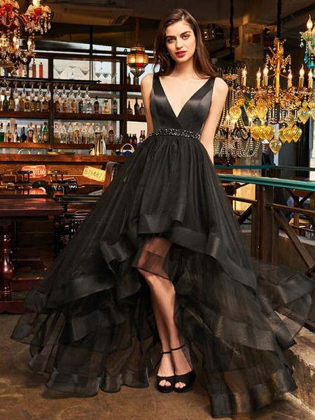 A-Line/Princess Sleeveless V-neck Asymmetrical Ruffles Organza Dress