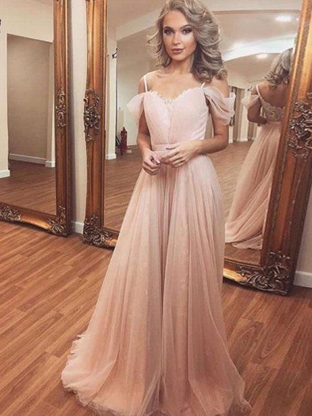 A-Line/Princess Tulle Ruched Off-the-Shoulder Sleeveless Sweep/Brush Train Dress