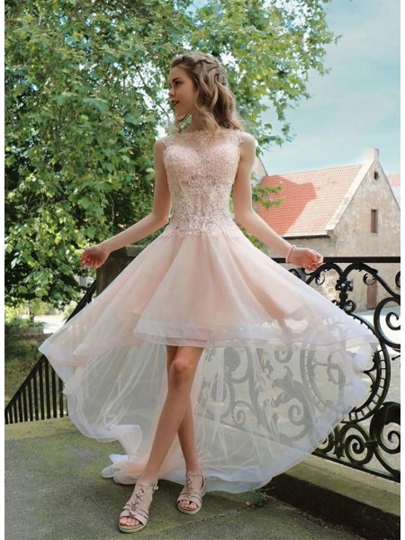 A-Line/Princess Organza Applique Sheer Neck Sleeveless Asymmetrical Dress