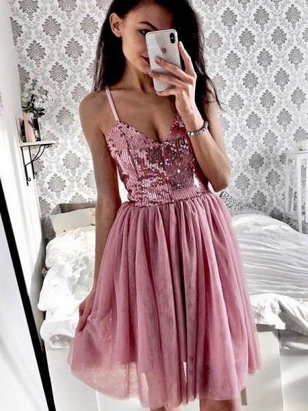 A-Line/Princess Tulle Sequin Spaghetti Straps Sleeveless Short/Mini Dress