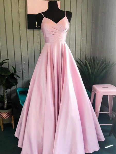 A-Line/Princess Satin Ruched Sleeveless Long Dress