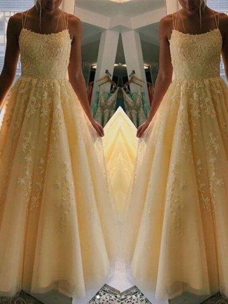 A-Line/Princess Tulle Applique Sleeveless Long Dress