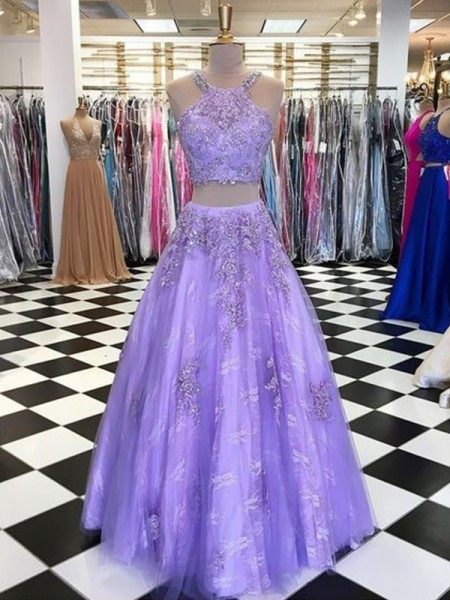 A-Line/Princess Tulle Beading Halter Sleeveless Long Two Piece Dress