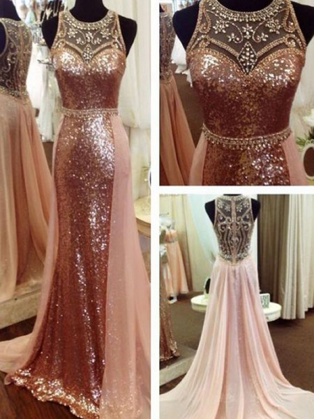 A-Line/Princess Beading Sequins Scoop Sleeveless Sweep/Brush Train Dress