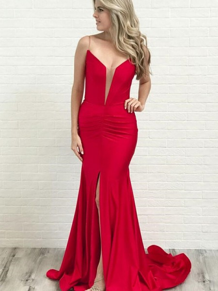 A-Line/Princess Ruched Stretch Crepe Sleeveless Court Train Dress