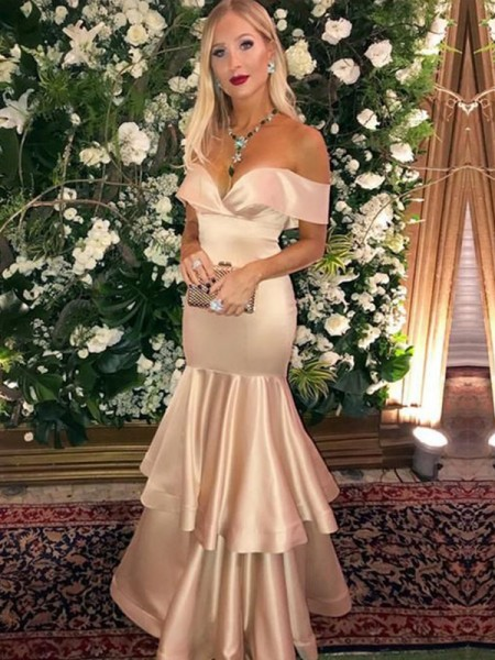 Trumpet/Mermaid Satin Off-the-Shoulder Sleeveless Long Dress