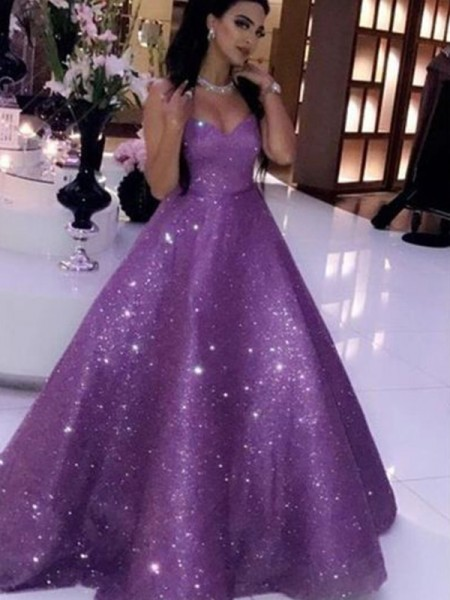 Ball Gown Sequins Sweetheart Sleeveless Ruffles Sweep/Brush Train Dress