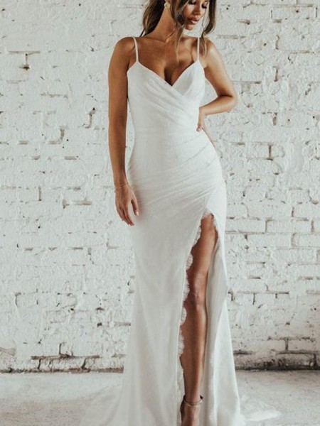 Sheath/Column Spaghetti Straps Ruched Sleeveless Lace Sweep/Brush Train Wedding Dress
