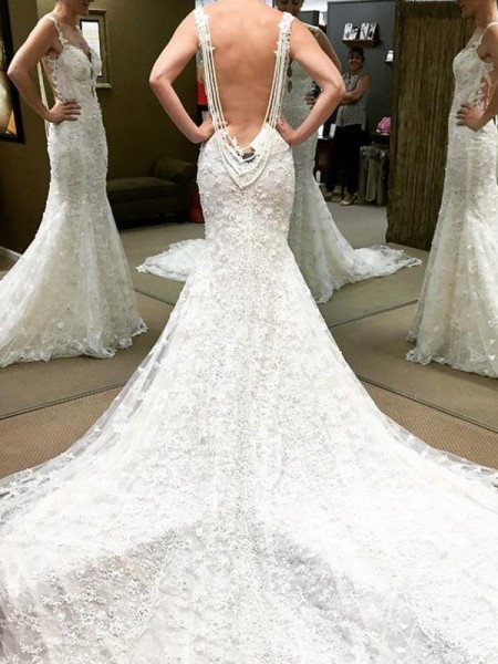 Ball Gown Cathedral Train Off-the-Shoulder Lace Wedding Dresses
