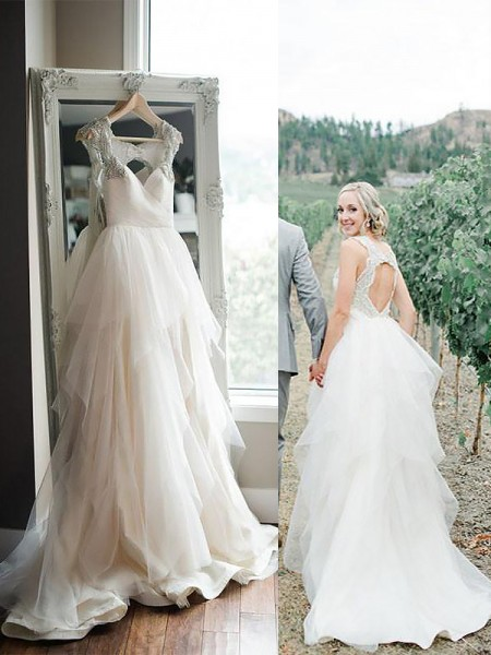 A-Line/Princess Straps Sweep/Brush Train Tulle Wedding Dresses