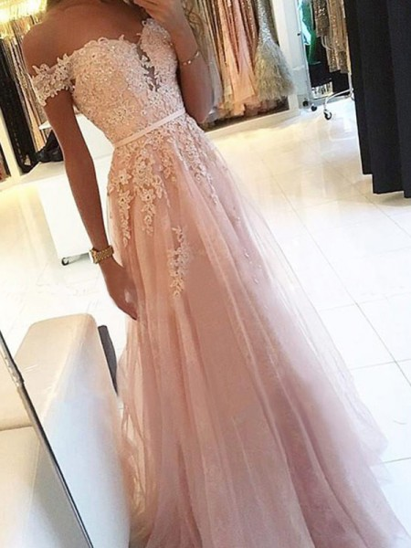 A-Line/Princess Off-the-Shoulder Sleeveless Floor-Length Applique Dresses with Tulle