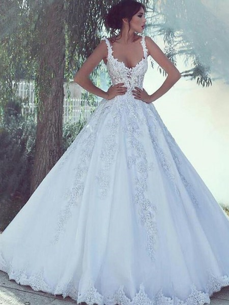 Ball Gown Scoop Sleeveless Sweep/Brush Train Lace Wedding Dresses with Satin