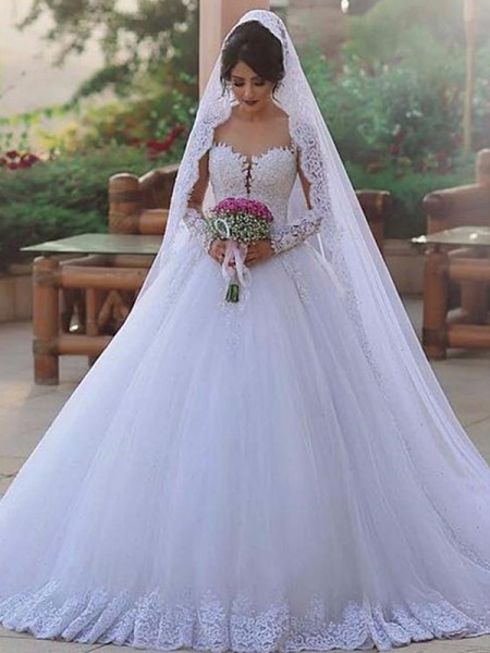 Ball Gown Sweetheart Long Sleeves Sweep/Brush Train Wedding Tulle Dresses with Lace