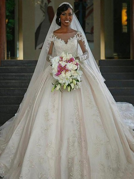 Ball Gown Bateau Long Sleeves Sweep/Brush Train Applique Wedding Dresses with Satin