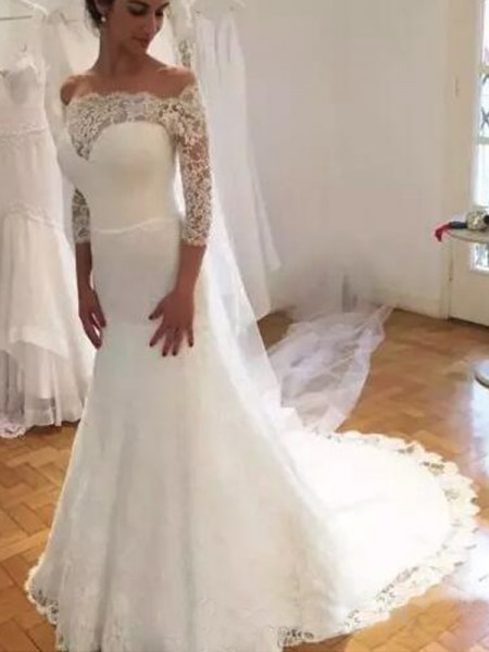 Trumpet/Mermaid Off-the-Shoulder 3/4 Sleeves Sweep/Brush Train Ruffles Wedding Dresses with Lace