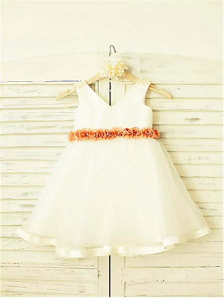 A-line/Princess V-neck Hand-made Flower Tea-Length Tulle Flower Girl Dress