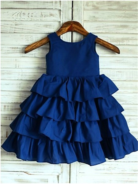 A-line/Princess Scoop Layers Tea-Length Chiffon Flower Girl Dress