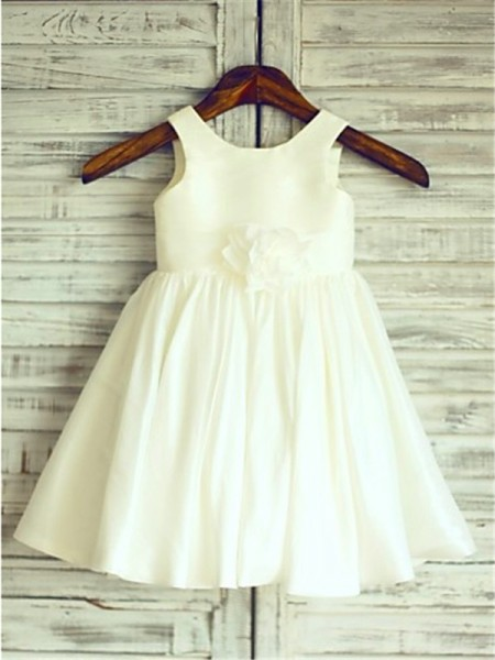 A-line/Princess Scoop Hand-made Flower Tea-Length Chiffon Flower Girl Dress