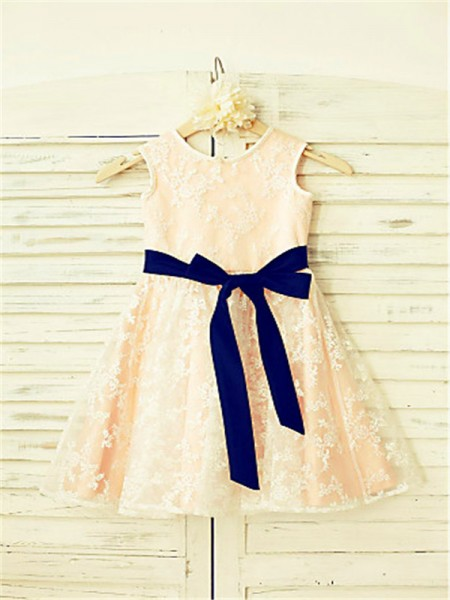 A-line/Princess Scoop Bowknot Ankle-Length Flower Girl Dress with Lace