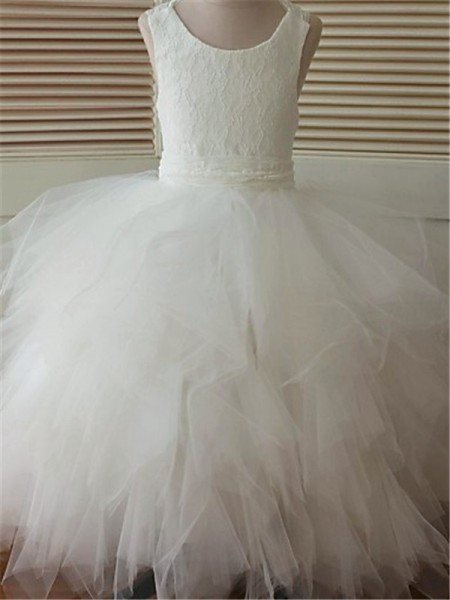 Ball Gown Scoop Floor-Length Organza Flower Girl Dress with Lace