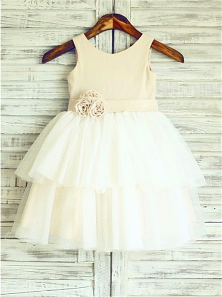 A-line/Princess Straps Hand-made Flower Tea-Length Tulle Flower Girl Dress
