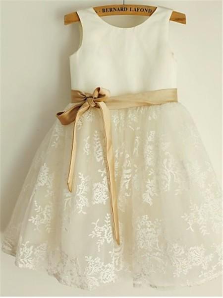 A-line/Princess Scoop Bowknot Tea-Length Flower Girl Dress with Lace