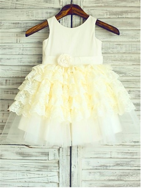 Ball Gown Scoop Layers Tea-Length Flower Girl Dress with Lace