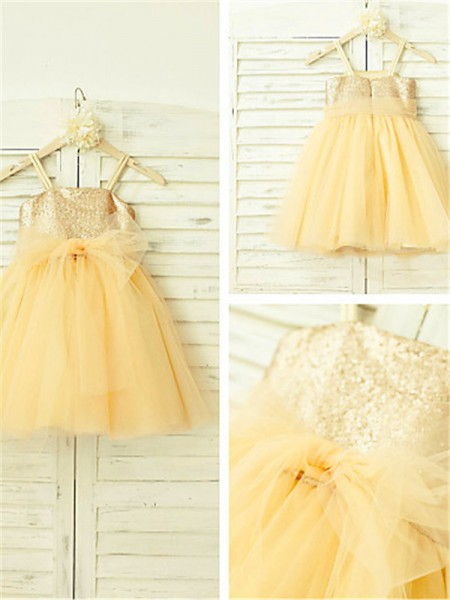 A-line/Princess Spaghetti Straps Sequin Tea-Length Tulle Flower Girl Dress