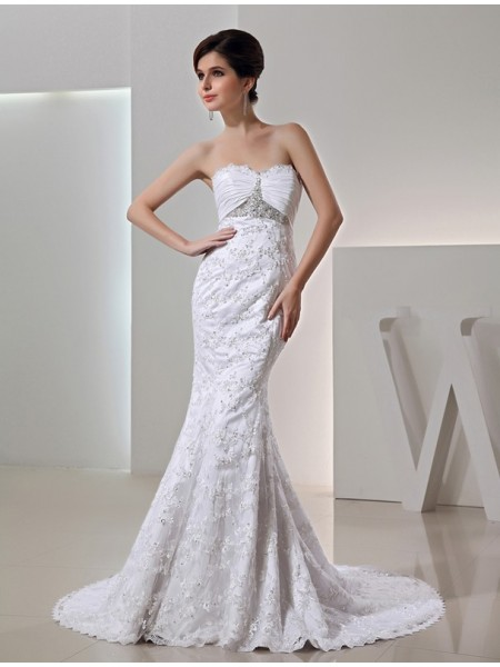 Trumpet/Mermaid Sweetheart Long Taffeta Wedding Dress