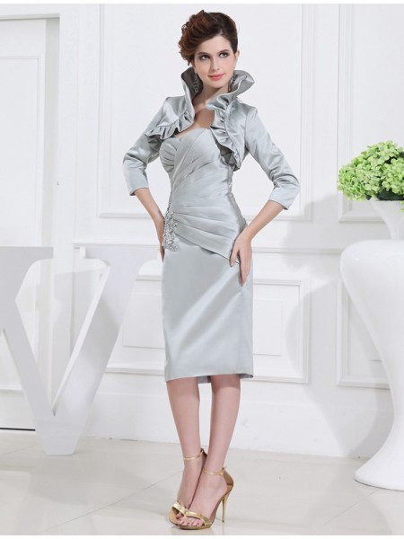 Sweetheart Satin Short Mother of the Bride Dress