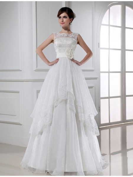 A-Line/Princess Long Lace Organza Wedding Dress