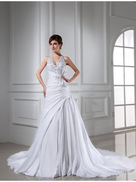 A-Line/Princess Halter Long Taffeta Wedding Dress