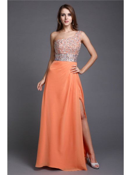 Sheath/Column One Shoulder Long Chiffon Dress