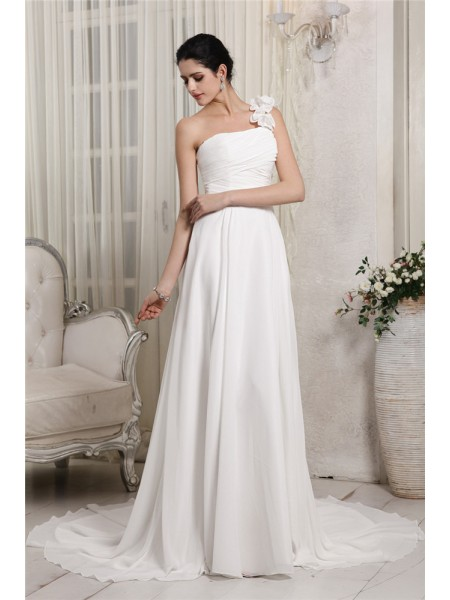 Sheath/Column One-Shoulder Ruffles Chiffon Wedding Dress