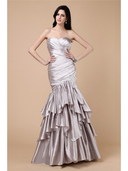 Trumpet/Mermaid Strapless Pleats Long Elastic Woven Satin Dress