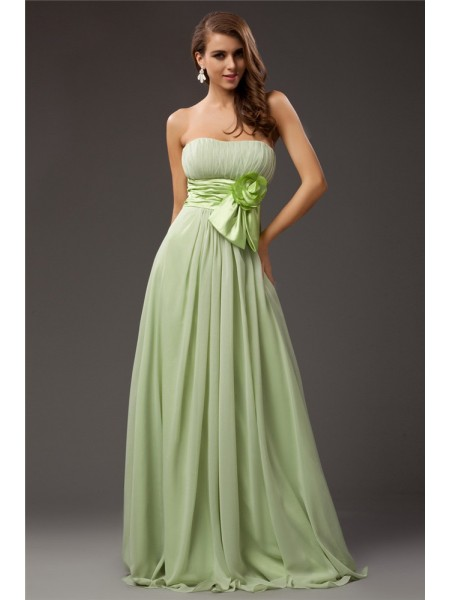 Sheath/Column Strapless Ruffles Chiffon Elastic Woven Satin Bridesmaid Dress