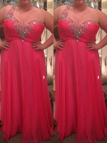 A-Line/Princess One-Shoulder Beading Floor-Length Chiffon Plus Size Dress