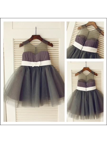A-Line/Princess Scoop Flower Girl Dress with Tulle