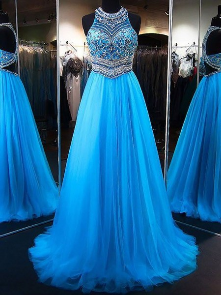 A-Line/Princess Jewel Sweep/Brush Train Beading Tulle Dress
