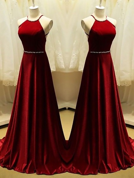 A-Line Halter Sweep/Brush Train With Beading Satin Dress