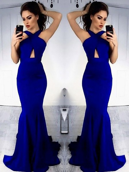 Sheath Halter Sweep/Brush Train With Ruched Satin Dress