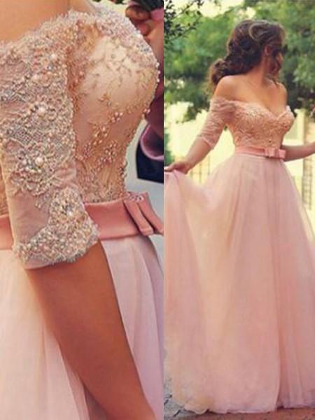 A-Line Off-the-Shoulder Floor-Length With Tulle Dress with Lace