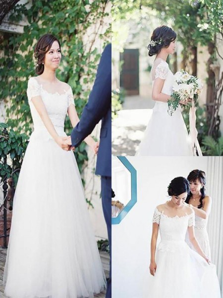 A-Line/Princess Tulle Lace Short Sleeves Floor-Length Wedding Dress