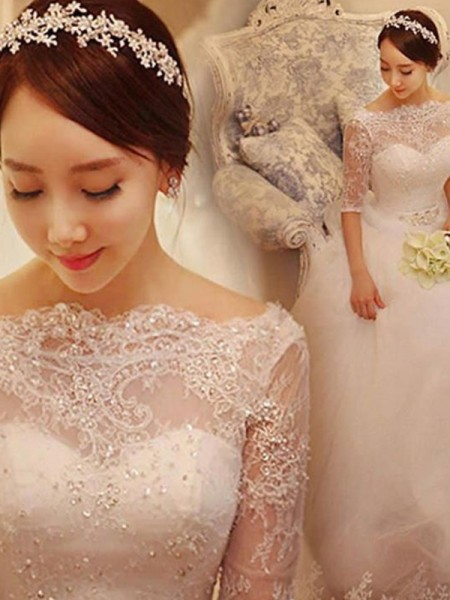Ball Gown Beading Tulle 1/2 Sleeves Chapel Train Wedding Dress