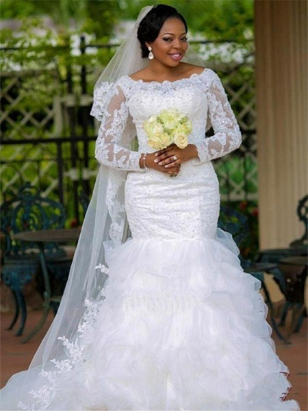 Trumpet/Mermaid Square Organza Long Sleeves Chapel Train Wedding Dress
