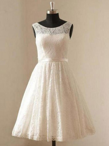 A-Line/Princess Scoop Lace Sleeveless Knee-Length Wedding Dress