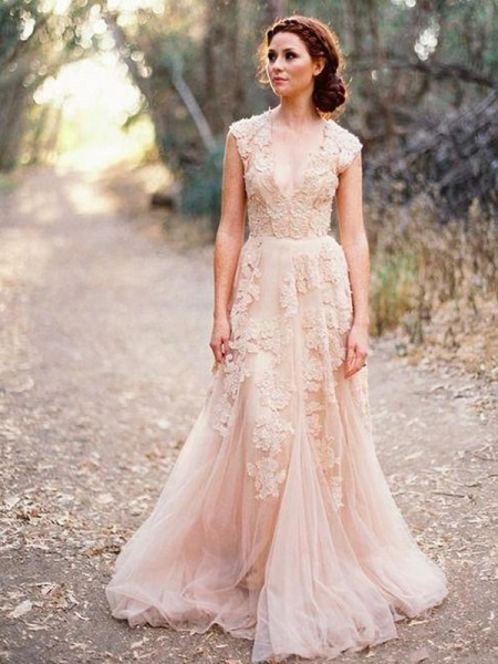 A-Line/Princess Tulle V-neck Sleeveless Sweep/Brush Train Wedding Dress